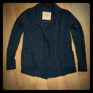 WOMENS ABERCROMBIE & FITCH NAVY CARDIGAN SIZE M